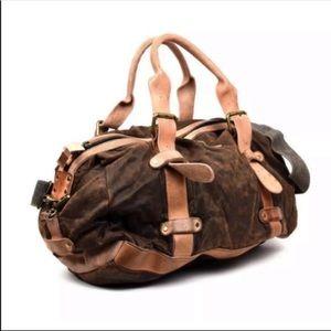 Bed Stu Howard Oil Slick Canvas Leather Duffle Bag